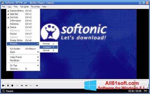 સ્ક્રીનશૉટ Media Player Classic Windows 8.1