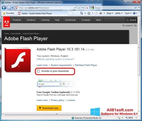 સ્ક્રીનશૉટ Adobe Flash Player Windows 8.1