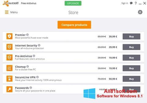 સ્ક્રીનશૉટ Avast Free Antivirus Windows 8.1