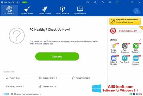 સ્ક્રીનશૉટ Wise Care 365 Windows 8.1