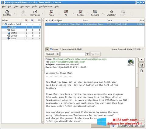 સ્ક્રીનશૉટ Claws Mail Windows 8.1