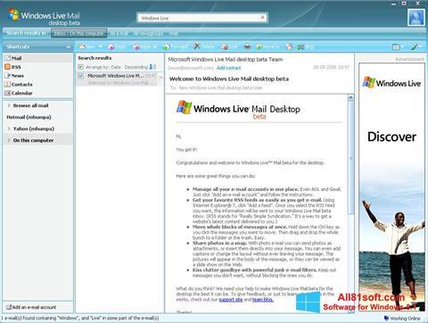 સ્ક્રીનશૉટ Windows Live Mail Windows 8.1