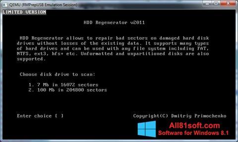 સ્ક્રીનશૉટ HDD Regenerator Windows 8.1