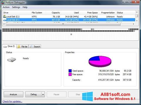 સ્ક્રીનશૉટ Defraggler Windows 8.1